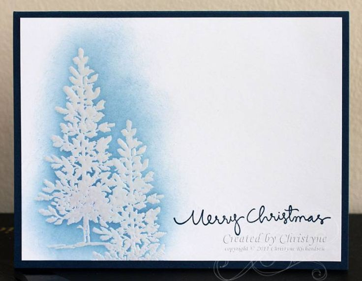 CAS182 - Lovely as a Tree. Embossed and sponged Christmas trees