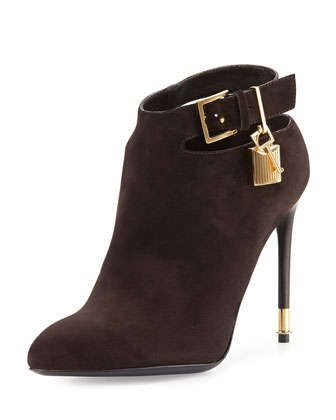 Suede Ankle-Strap Bootie, Dark Brown by TOM FORD at Neiman Marcus.