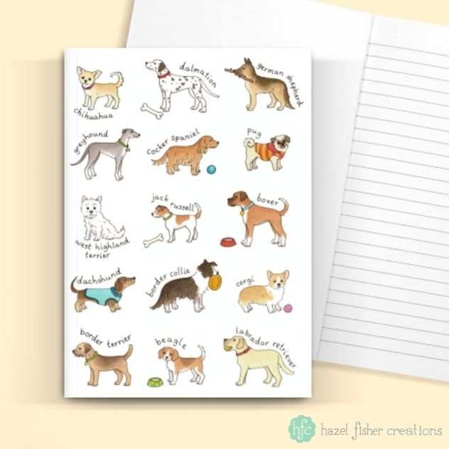 Breeds of Dog card design by Hazel Fisher Creations available from thortful.  Did you know you can also upgrade your basic greeting card to a notebook, sock card or chocolate card - a card and gift in one!