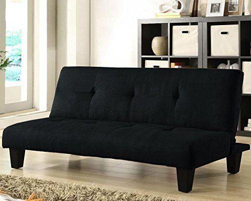 Divano letto moderno 164x75 nero microfibra soggiorno sofa arredi interni|