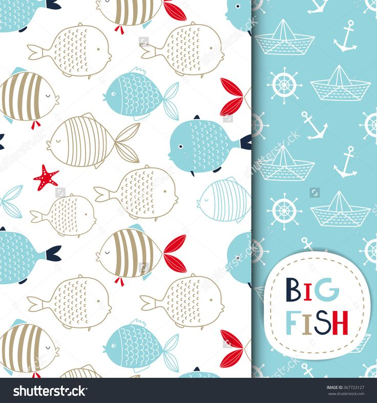 Creative Hand Drawn Textures, Marine Theme Design. Set Of Vector Seamless Patterns. For Birthday, Anniversary, Party Invitations, Scrapbooking, T-Shirt, Cards. Vector Illustration. Red, Blue And Beige - 367723127 : Shutterstock