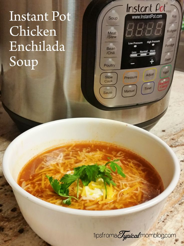 Instant Pot Chicken Enchilada Soup Recipe. This is a great starter recipe for those who are learning how to use their pressure cooker, not to mention a great family friendly dinner recipe. #InstantPot #dinner #soup #recipe