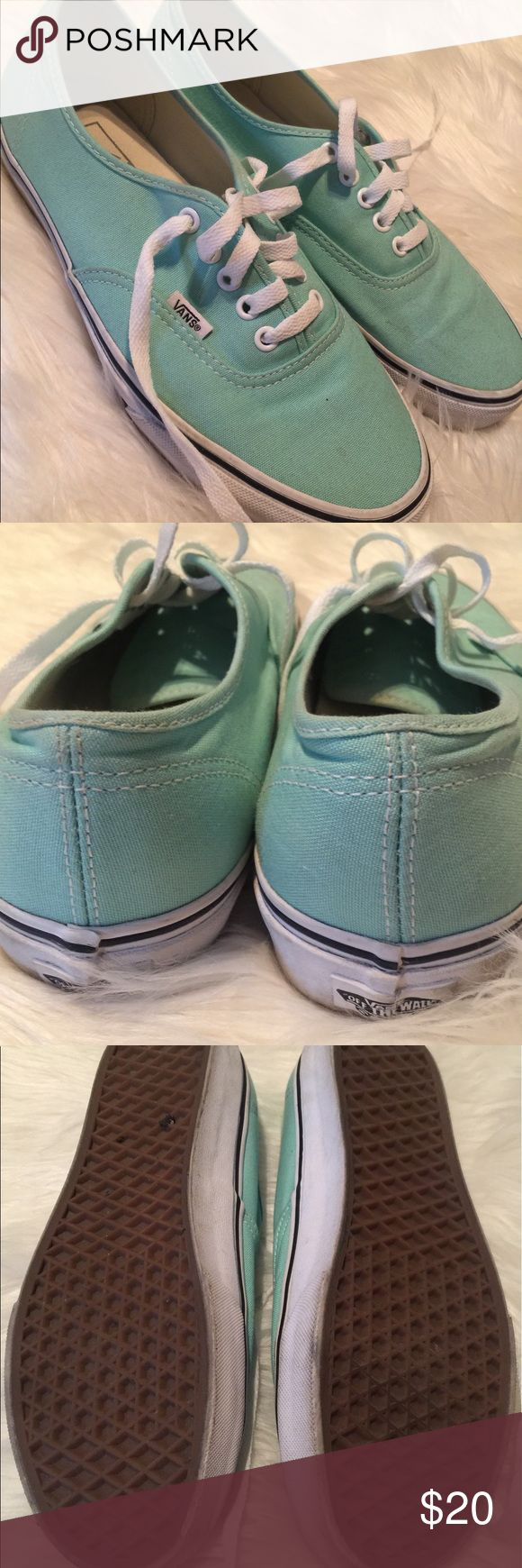 Mint green Vans Gently used mint green vans. Only worn twice. Moderate wear on soles. *MENS 8/WOMEN'S 9.5* Vans Shoes Sneakers