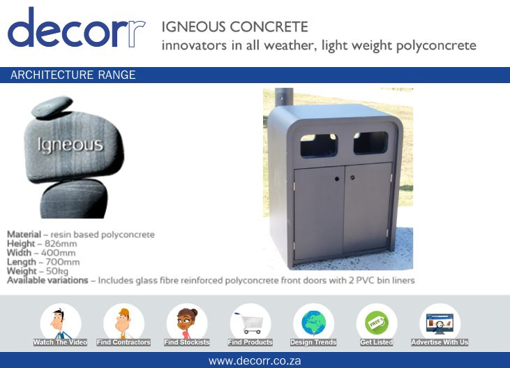 #DecorrOutdoor Architecture Range: Recycling Bins at http://www.decorr.co.za/igneous-concrete  #decorrpromo
