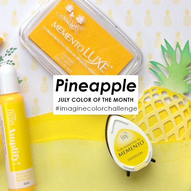 Color of the Month for July is Pineapple! We love the bright yellow color and have seen it trending this year in all sorts of ways. Pineapple is a delicious fruit eaten fresh, cooked, made into a j…
