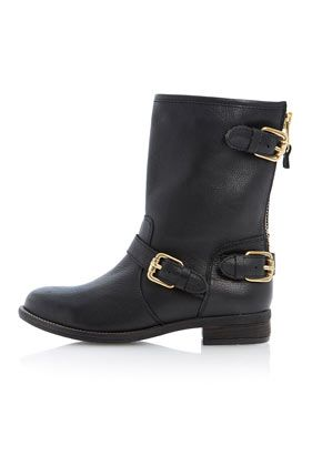 **Riff Leather Biker Boots by Dune