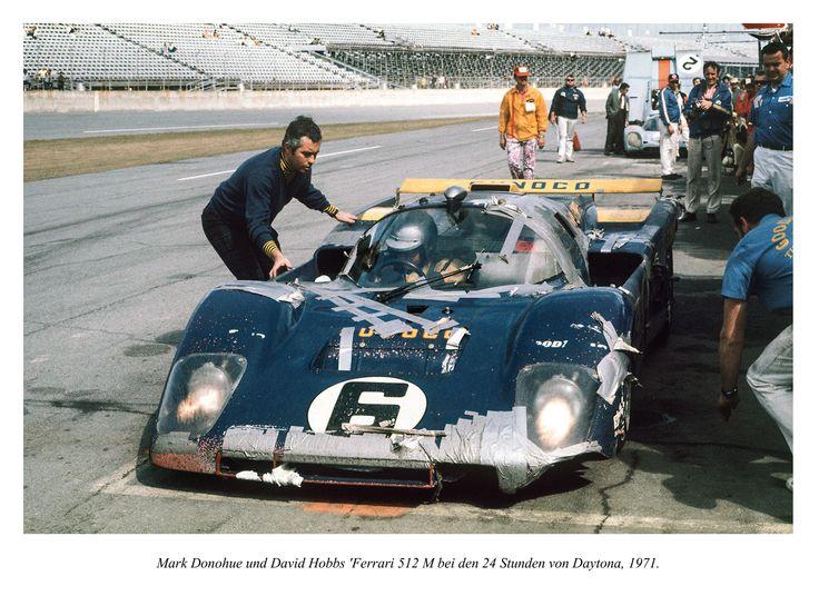 Mark Donohue und David Hobbs 'Ferrari 512 M bei den 24 Stunden-Rennen von Daytona, 1971. Ohne Panzerband ging nichts.