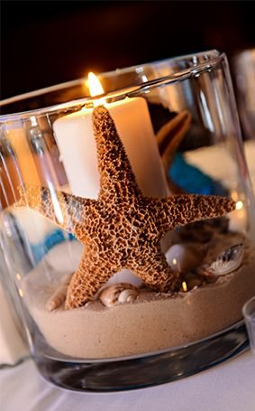 Make a splash at your wedding reception with sea-inspired candles