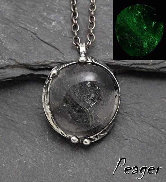 Tourmalated Quartz pendantGlow stone necklaceCrystal