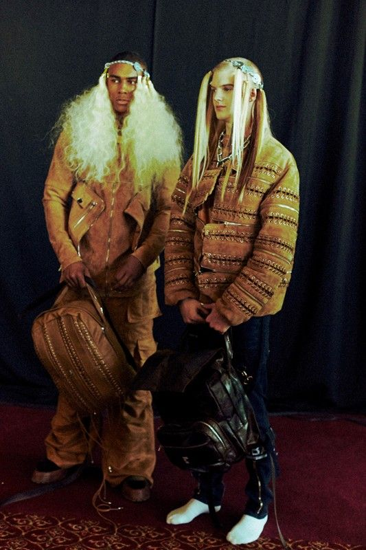 Suede, leather and wigs at Hood By Air AW14. More images here: http://www.dazeddigital.com/fashion/article/18779/1/hood-by-air-aw14