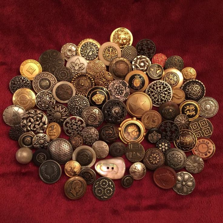 Vintage Antique Buttons Metal Plastic Glass Leather Filigree Geometric Lot of 78  | eBay