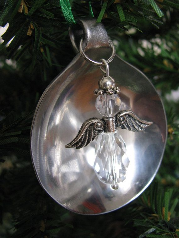 Crystal Angel and Soup Spoon Ornament by SilverwearCreations, $7.00