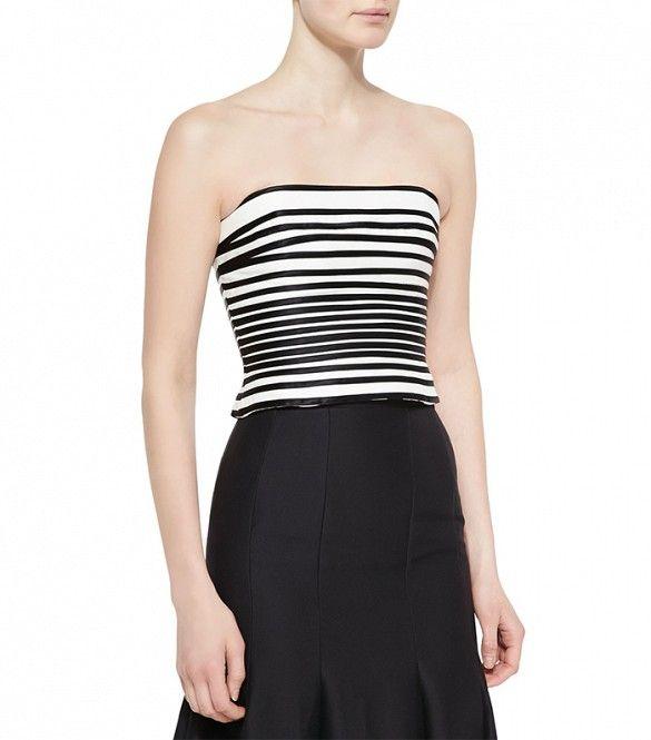 Halston Heritage Striped Strapless Crop Top // Strapless black and white striped crop top