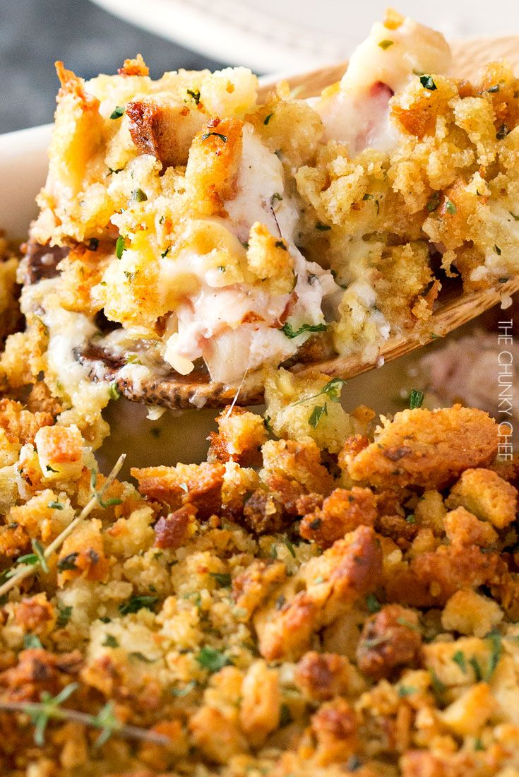 Chicken Cordon Bleu Casserole   A one pan family style casserole full of chicken, ham, swiss cheese, creamy herb sauce and savory stuffing!   http://thechunkychef.com