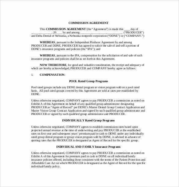 Commission Sales Agreement Template Free from i.pinimg.com