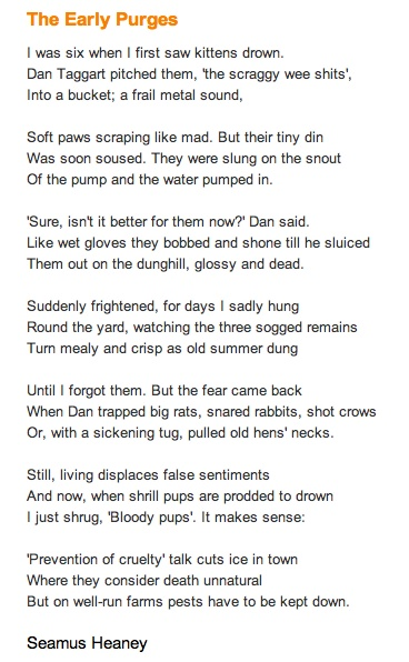 """The Early Purges"" by Seamus Heaney Essay"