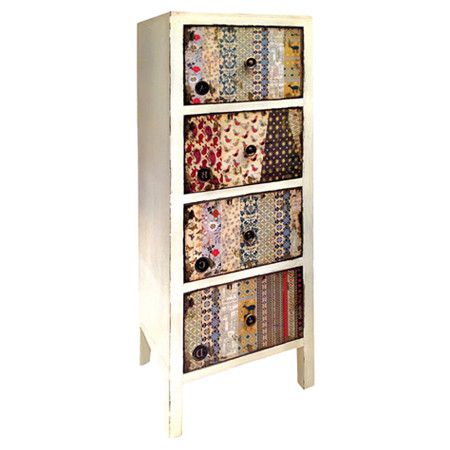 Organise your bedroom or study with this eclectic vintage-style chest, featuring 4 drawers in mixed motif patterns. Team with matching rustic accents and a b...