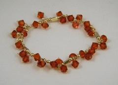 Fire Opal Satin Crystal Bracelet