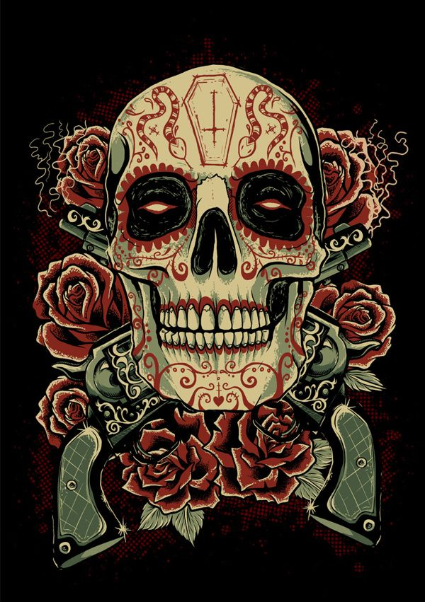 Sugar Skull by Evri Harvian, via Behance