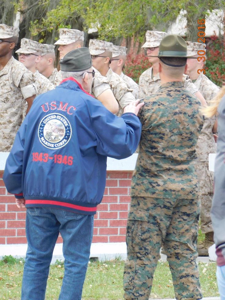 Please make this go viral!! I took this picture back in April of last year at Parris Island South Carolina at my brothers graduation. In this picture you can see a grandfather of one of the new marines who is also a marine himself placing his hand on the Drill Instructors shoulder. This just shows that once you are a marine you're always a Marine. If I could try to find the family of this older gentleman that would be amazing. Please repin this!!❤️