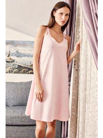Gecelik Elbise Pembe Çizgili V Yaka Kolsuz Eros ESK10526