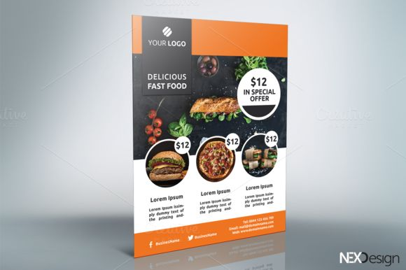Fast Food Flyer - v019 by NEXDesign on @creativemarket