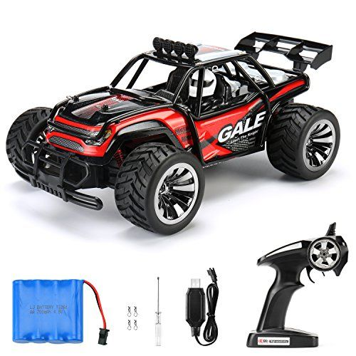 RC Car Remote Control Cars TOQIBO Electric Racing Car Off Road 1/16 Scale 2.4Ghz 50M 2WD High Speed Desert Buggy Vehicle Radio Controlled Monster Truck Rock Crawler Toy Car With 4 More Lock Catch  2WD: 2 wheel drive independent suspension system for various racing games. Easily complete the drift actions.  ALL TERRAIN: Super easy to go through the sand, grass, wet mud, marshy and overcome obstacle for racing like rocks, asphalt, packed dirt, and a cobblestone street,inclines.  BATTERY ...