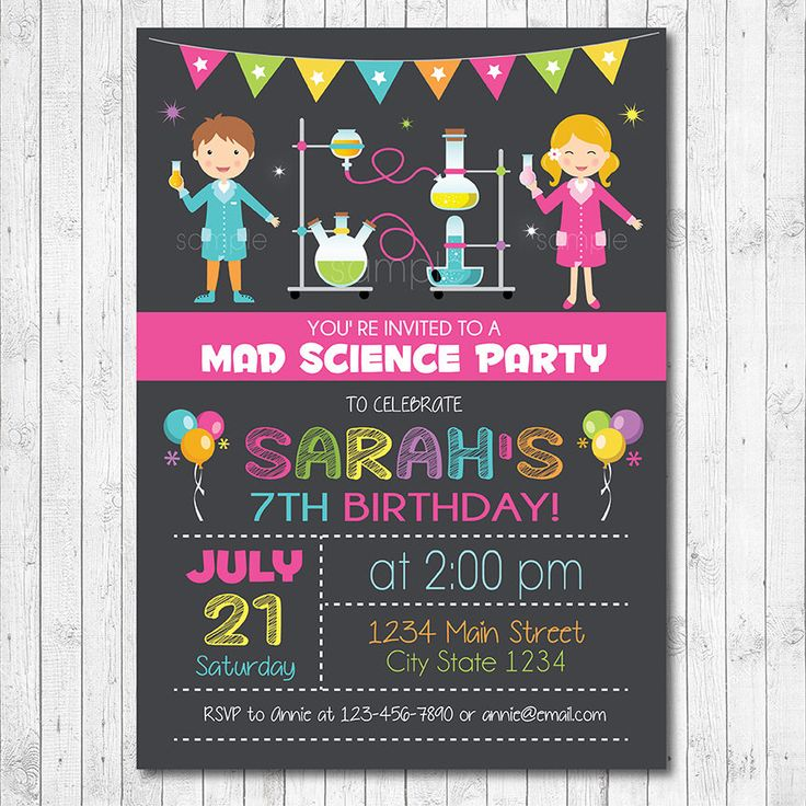Science invitation, Science invite, Science birthday, Mad science birthday, mad science invite, scientist party, Printable, Girls Invite by funkymushrooms on Etsy https://www.etsy.com/listing/246159909/science-invitation-science-invite