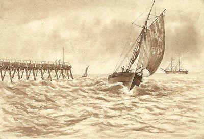 Fishing Yacht Returning Home - Original 19th-century watercolour painting