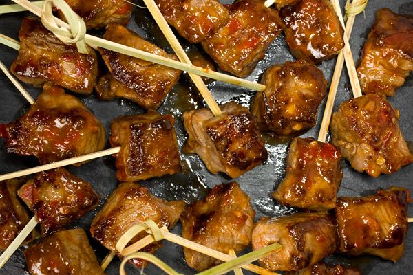 Mongolian Beef Kebabs with Chile Jam