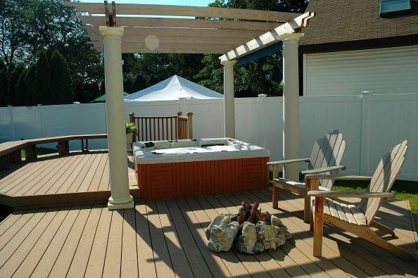 ... inspiration, decks, outdoor living, patio, spas, Hot Tub Deck with