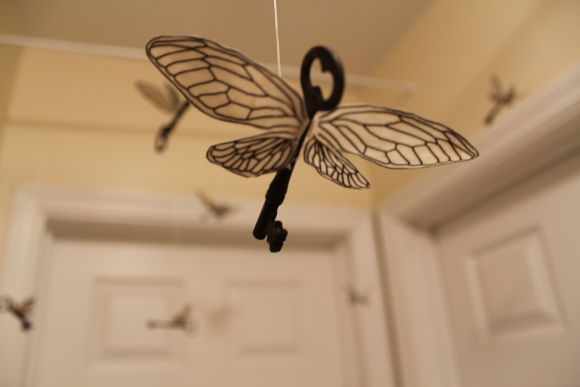 Flying keys - Harry Potter party decoration idea...or, you know, jusst every day decorations.....: