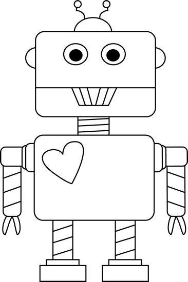 Black and White Valentine's Day Robot