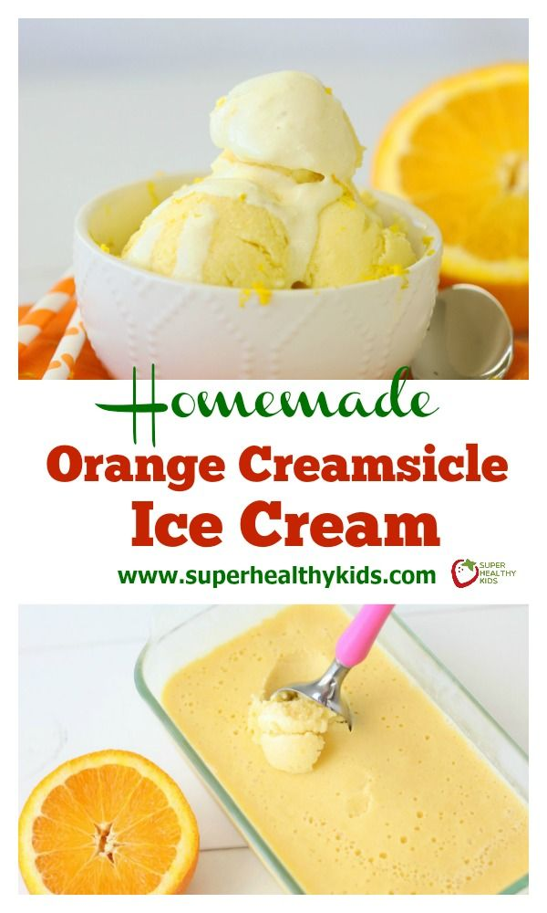 Homemade Orange Creamsicle Ice Cream. Refreshing and made with real fruit, try our orange creamsicle ice cream today! www.superhealthykids.com/homemade-orange-creamsicle-ice-cream