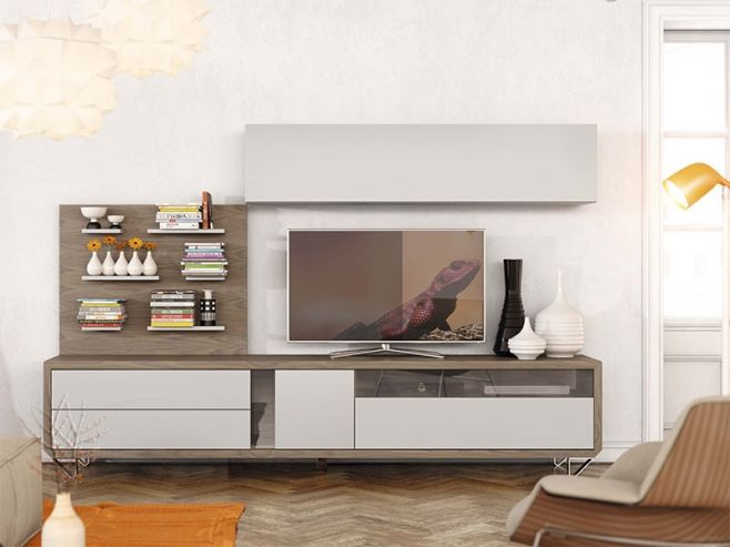 Garcia Sabate Natural Modern Wall Storage System with Wall Cabinets and TV Unit