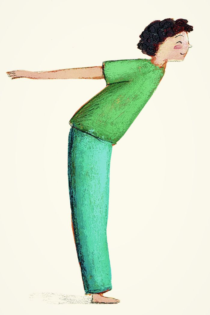 Il gabbiano. A piedi uniti, gambe dritte, si allungano all'indietro le braccia, ben distese si spinge il petto in avanti e lo sguardo verso il cielo, come se le braccia fossero ali aperte e si volasse leggeri. Restando nella posizione più a lungo possibile, ogni inspirazione lenta e tranquilla allarga il petto, ogni espirazione lo svuota completamente. La posizione del gabbiano raddrizza la schiena, apre il petto e potenzia il respiro.