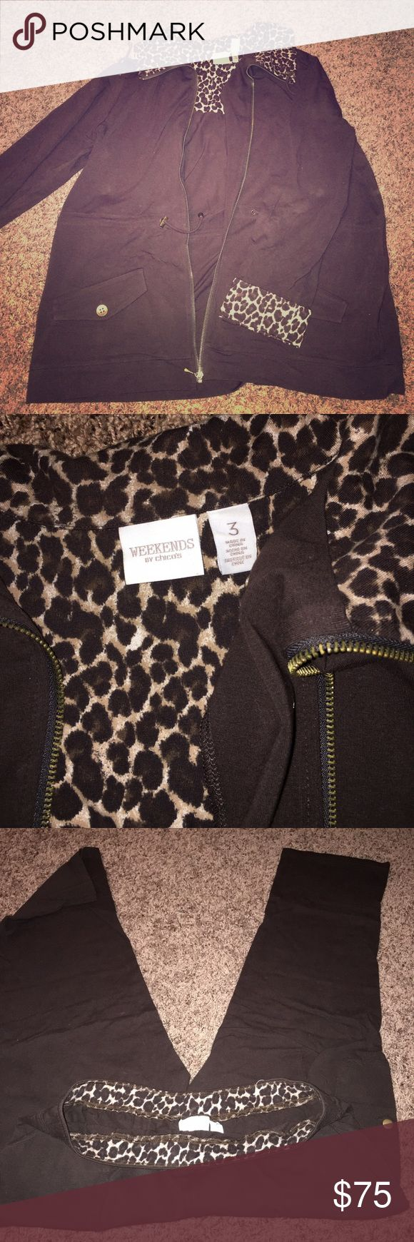 Chico's Weekends Leopard Travel Set- EUC Like New - Chico's Weekender Brown Leopard Travel Set. Excellent Condition. Chico's size 3 Chico's Jackets & Coats