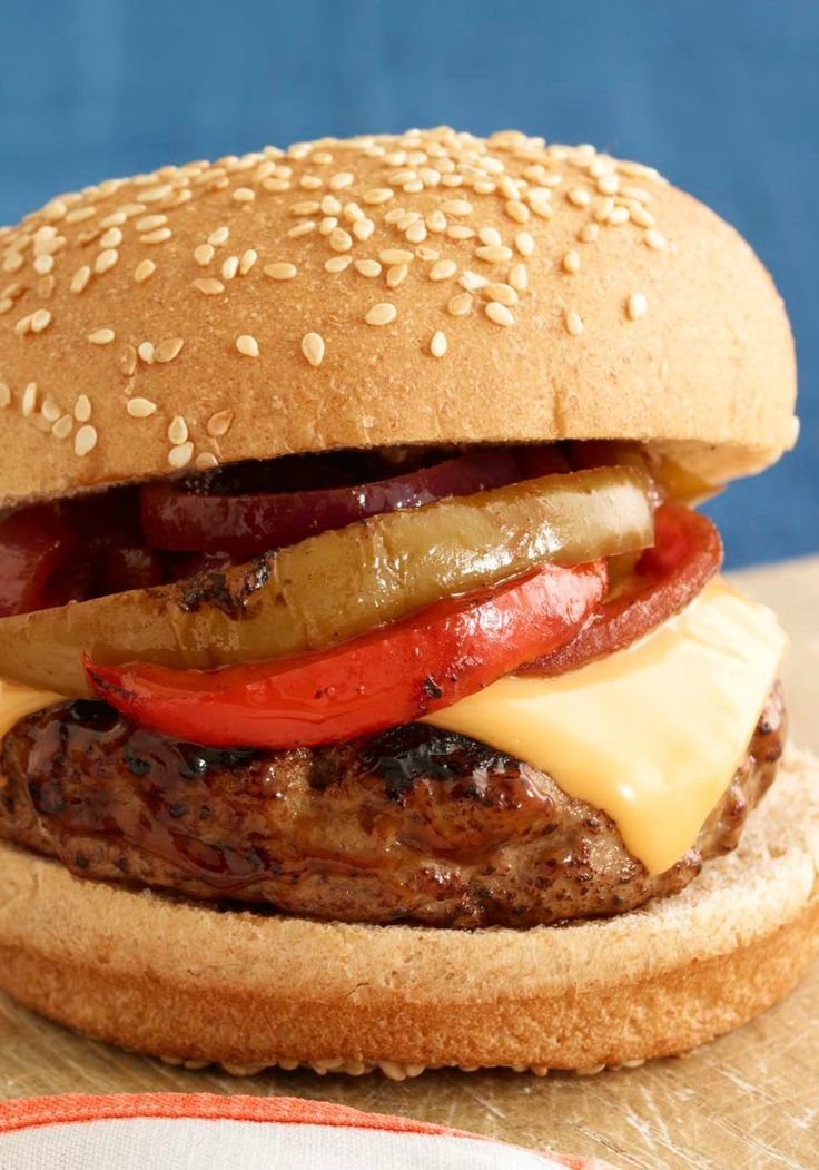 BBQ Grilled Steak Burgers -- Ground sirloin, BBQ sauce and A.1. Original Sauce with peppers, onions and melted cheese: This is the type of burger recipe you've been dreaming of.