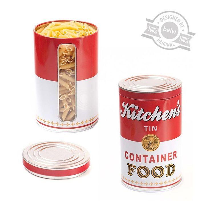 Balvi: metalowy pojemnik na żywność sypką #campbell #soup #tomato #żywność #health #zupa #pomidorowa #dyniowa #porowa #ogórkowa #rosolzkury #rosół #przepis #pudełko #decoupage #gadżety #słoiki #jar #balvi #onemamarket.pl #bajka #art #pop #popart