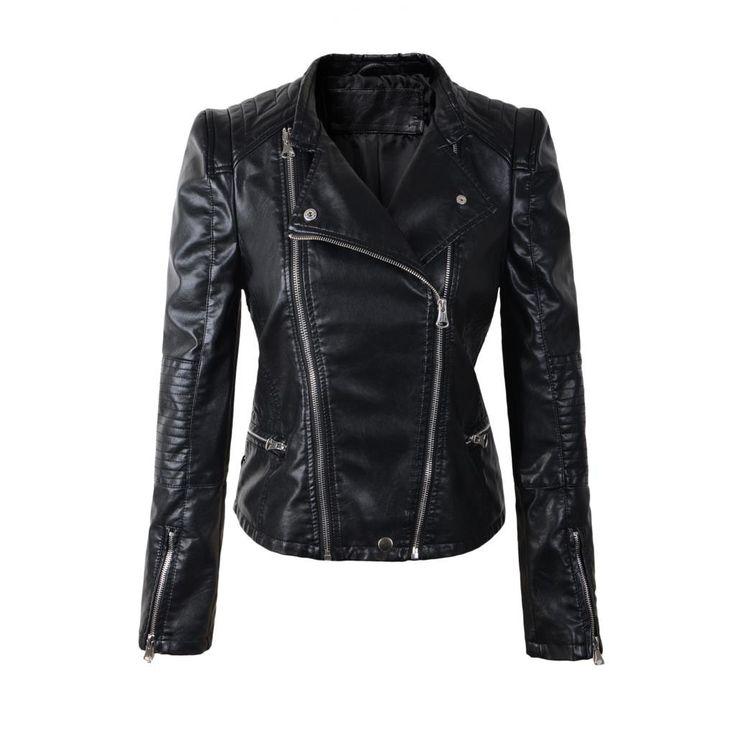 Women Motorcycle Faux Leather Jacket, Black, Brown