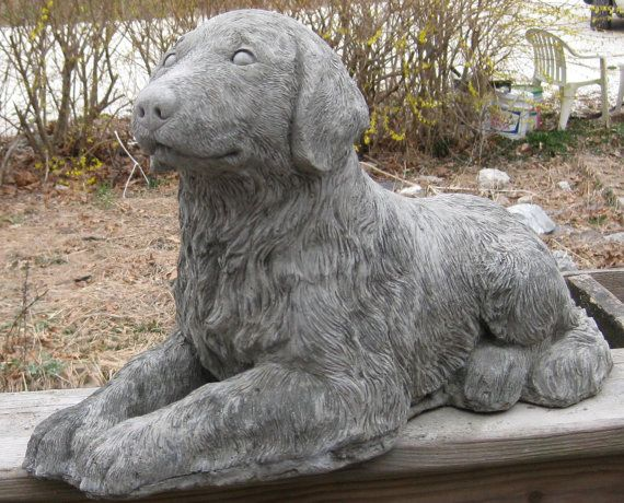 Exceptional Large Golden Retriever Dog Statue Marker By Springhillstudio, $40.95