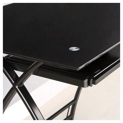 Glass and Metal Corner Computer Desk - Black