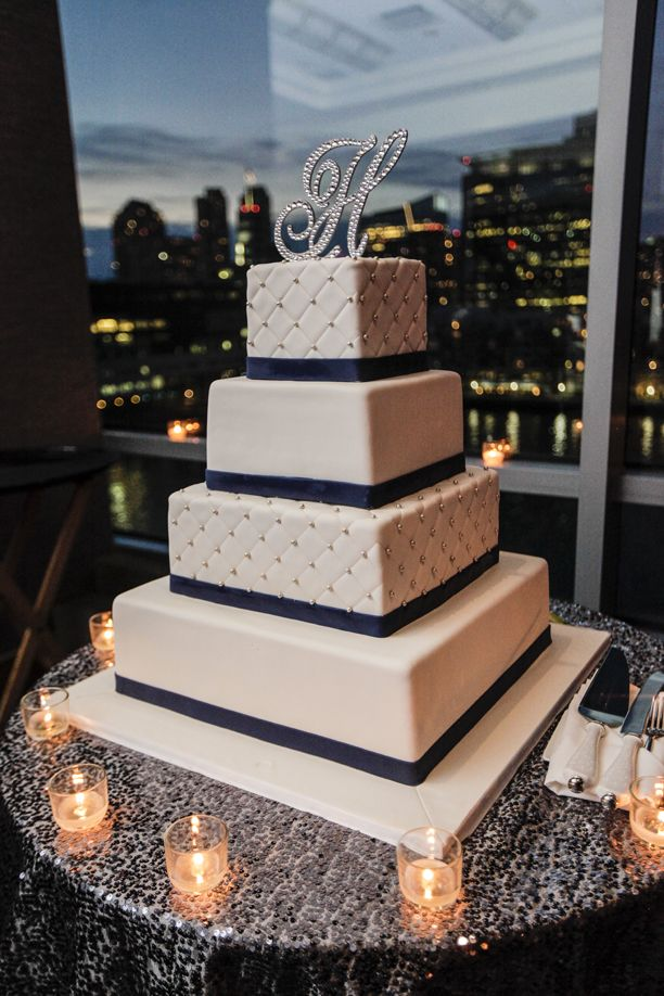 wedding cakes northern new jersey%0A Elegant tiered wedding cake with monogram topper   John Arcara Photography    Contemporary Bride Magazine