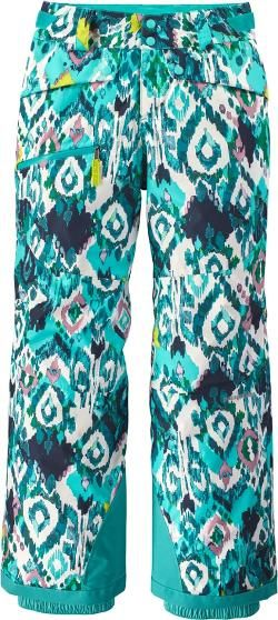 Patagonia Girl's Snowbelle Insulated Snow Pants Strait Blue/Inlet Ikat XS