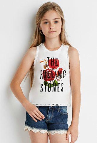 Eyelet-Trimmed Rolling Stones Tee (Kids) | Forever 21 girls | #f21kids