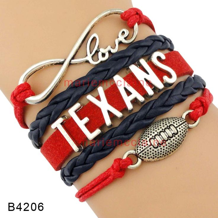 (10 Pieces/Lot) High Quality Infinity Love Houston Football Team Texans Wrap Bracelet Navy Blue Red Leather Cuff Sports Gift