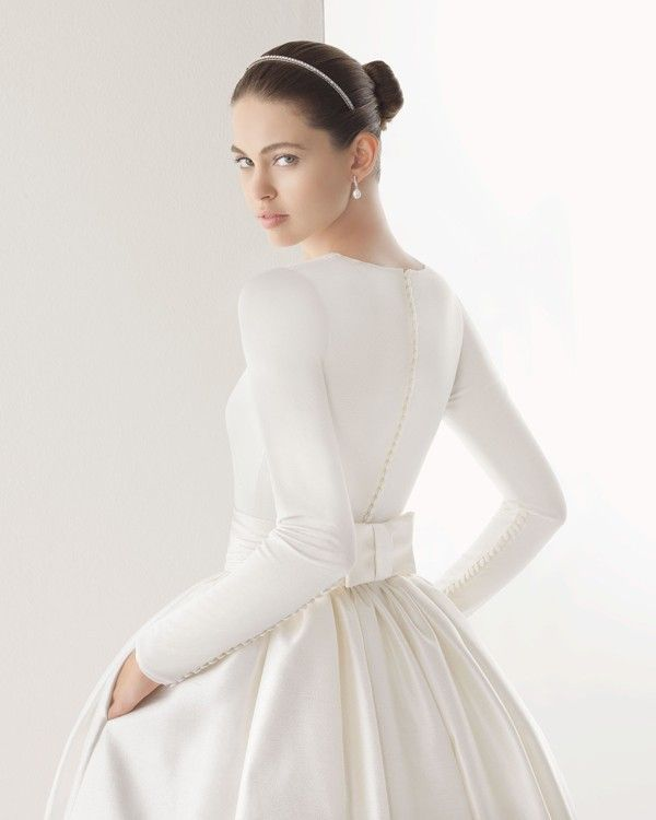 Vintage Elegant Boat Neck Long Sleeve Sash Bow Pockets Long White Muslim Wedding Dress 2015 vestido de noiva