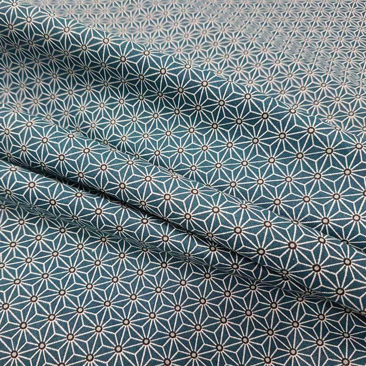 Weiteres - Stoff Baumwolle Japan Asanoha Grafik petrol weiss - ein Designerstück von werthers-stoffe bei DaWanda