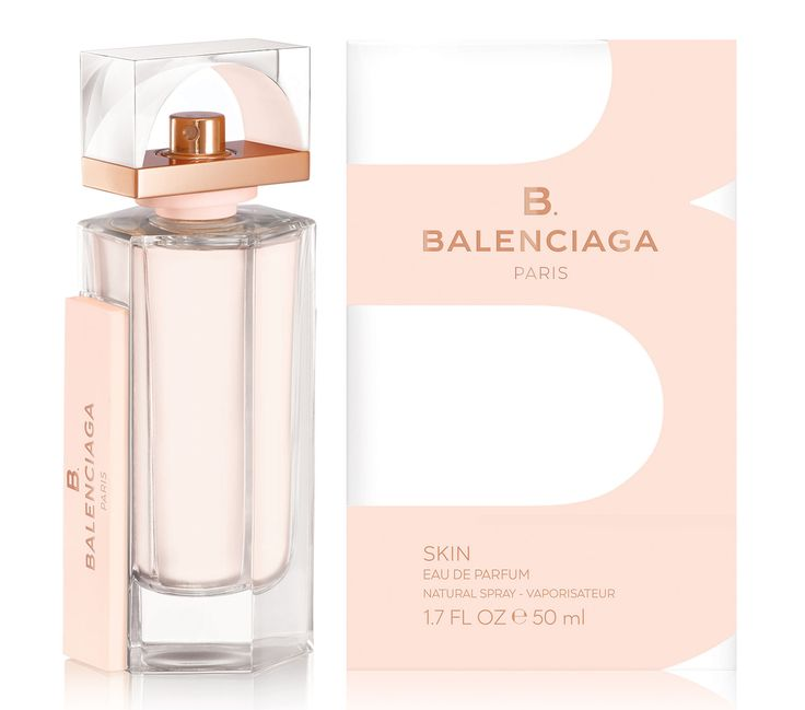B. Balenciaga Skin is announced as a more delicate version of the fragrance. The composition opens with notes of bergamot, green tea, soya bean and lily of the valley. Violet leaf absolut is mixed with peony and iris root in the heart, followed by the base of cedar, cashmere, vetiver and ambrette seed.