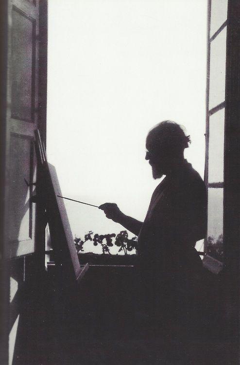 Henri Matisse painting in his apartment in Nice (c. 1910)